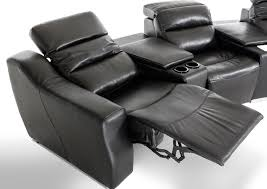Sofa With Recliners by Divani Casa Salem Modern Black Eco Leather Recliner Sectional Sofa