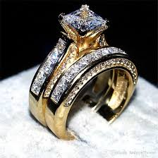 luxury gold rings images Luxury 14kt yellow gold filled ring set 2 in 1 wedding band jpg