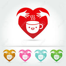 coffee cute cup design elements hand hug love concept on white
