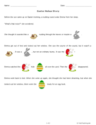 easter rebus story kindergarten free printable tests and