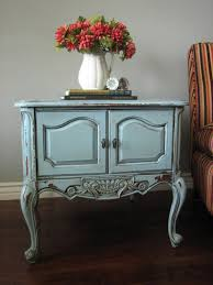 Blue Table Painting by European Paint Finishes Chippy Blue Grey End Tables