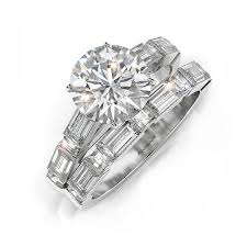 engagement and wedding ring set baguette engagement ring wedding set