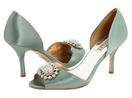 wedding shoes peep toe toe satin bridal heels in muted sea foam hue with rhinestone and