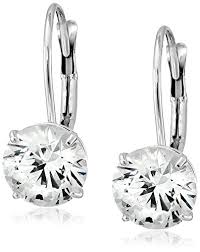 diamond back earrings 10k white gold swarovski zirconia lever back