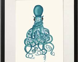 Octopus Bathroom Accessories by Squid Art Etsy
