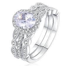 silver wedding ring sets newshe jewellery 3pcs white cz 925 sterling silver wedding ring