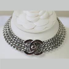 silver chain choker necklace images Chanel silver chain necklace with cc turn lock choker 11 quot style jpg