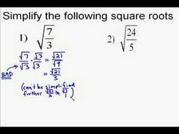 simplify squares roots radicals that have fractions solutions