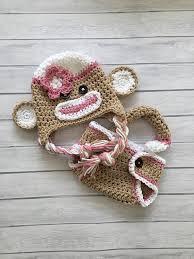 Monkey Halloween Costume Baby Pink Sock Monkey Hat Diaper Cover Newborn Photo Prop Sock