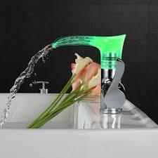 Copper Bathroom Faucet by Led Steel Sink Copper Bathroom Waterfall Faucet Lovdock Com