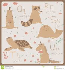 funny animals alphabet for kids q to u royalty free stock image