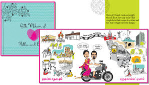 wedding invitation india caricatures the way to send a personalized wedding