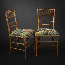 chaise dorée paire de chaises en bois doré façon bambou époque napoléon iii
