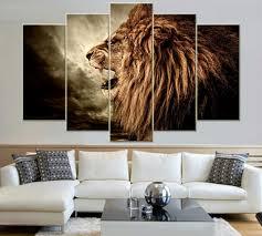 amazon com black and white lion head portrait wall art painting