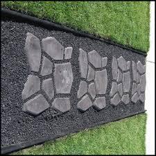 walk step stones spaced w lava rock black grey