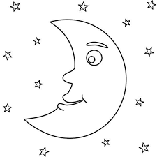 awesome night with moon and stars colouring page colouring tube
