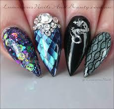 luminous nails dragons snake skin black widow black opal