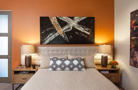 wall mounted headboards in bedroom contemporary with leather