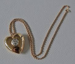 vintage diamond necklace pendants images Vintage diamond heart pendant heart necklace puffy 14k gold jpg