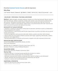 Assistant Preschool Teacher Resume Basic Teacher Resumes 29 Free Word Pdf Documents Download