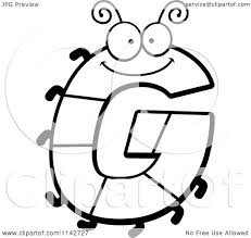 cartoon clipart of a black and white letter g bug vector