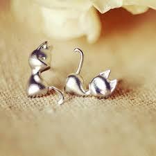stud earrings for women 925 sterling silver cat ear stud earrings women jewelry
