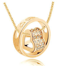 gold pendant chain necklace images New women fashion heart white crystal gold charm pendant chain jpg