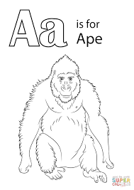 letter a is for ape coloring page free printable coloring pages