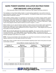 sure power marine isolator instructions for inboard applications