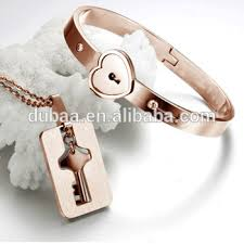 love bangle bracelet images Heart lock key love bangle bracelet pendant couple jewelry set jpg