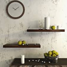 wall shelf set of 2 floating wall shelves racks brown