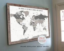Framed World Map by Rustic Push Pin Map 24x36 Inches Pin Map Home Office Decor