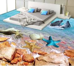 aliexpress com buy 3d floor wallpapers seaside scenery dolphins
