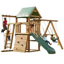 wayfair swing sets big backyard magnolia wooden swing set reviews