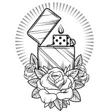 nice rose with nice dice candle tattoo design stencil golfian com