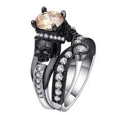 black engagement rings images Black engagement skull crystal ring set skull obsessed jpg