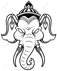 illustration of elephant head outline royalty free cliparts
