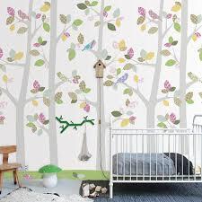 Wallpaper With Birds Woodland Tree Scene Panel By Inke Nubie