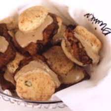 ouisie u0027s chicken fried steak with pepper gravy in biscuits recipe