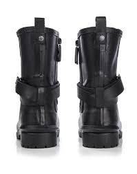 buckle biker boots barbour women u0027s biker style buckle wellington boots black