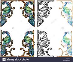 nouveau style corner ornaments in four variations stock vector