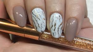nail art marble with rose gold foil gel polish youtube