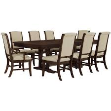 Chippendale Dining Room Set by City Furniture Canyon Mid Tone Trestle Table U0026 4 Upholstered Chairs