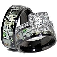 his and hers wedding rings sets his black titanium camo sterling silver engagement wedding