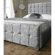 Crushed Velvet Fabric Upholstery Renata Cube Crushed Velvet Fabric Upholstered Bed Frame