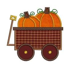 pumpkin wagon fall autumn thanksgiving embroidery design