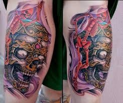 skull thigh by roses