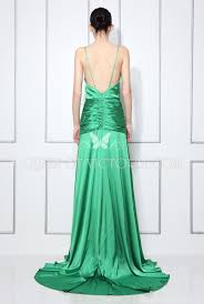 green satin v neck keira knightley a line open back evening prom