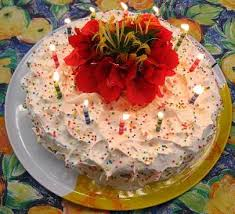 birthday cake viewed 12 candles flowers photo