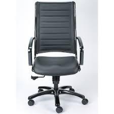 High Back Leather Armchair Modern Europa Metallic Leather High Back Swivel Chair Black